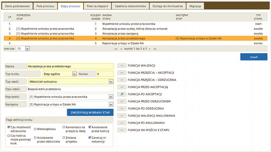Elektroniczny Obieg Dokumentów - Konfiguracja etapów procesu