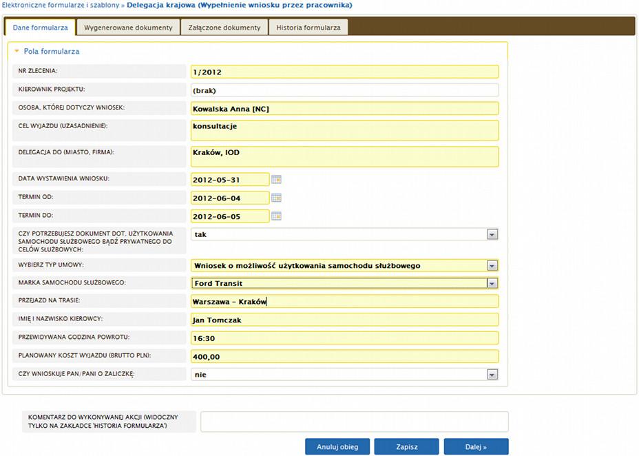 Elektroniczny Obieg Dokumentów - Przykładowy formularz delegacji