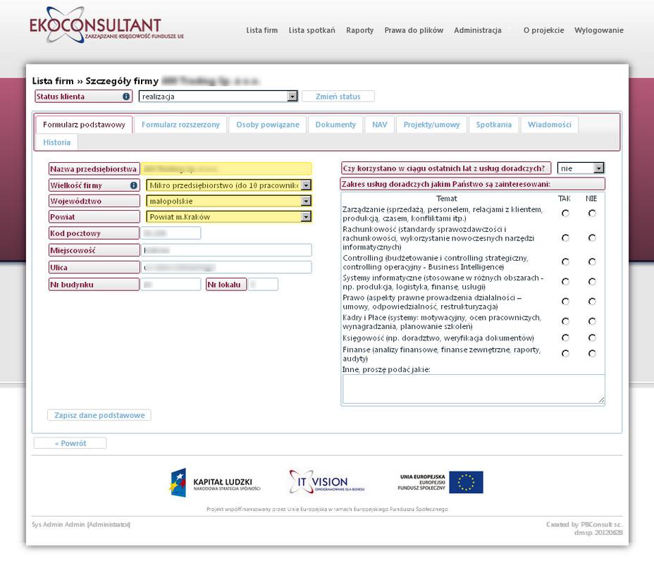 Internetowa Platforma dla firmy doradczej - szczegóły firmy