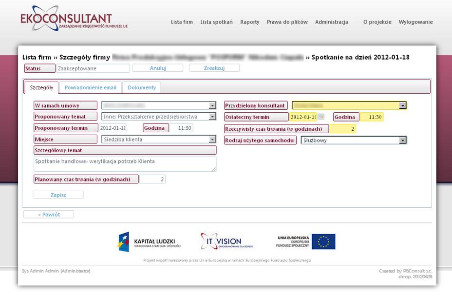 Internetowa platforma wymiany danych - szczegóły spotkania