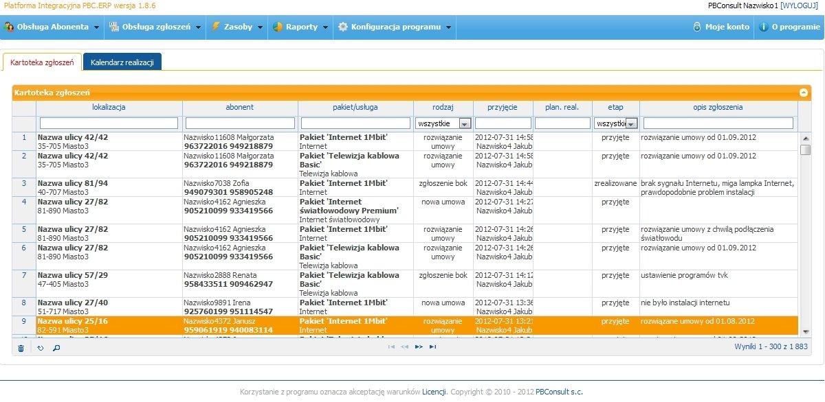 PBC.ERP System Obsługi BOK operatora sieci kablowej - lista zgłoszeń