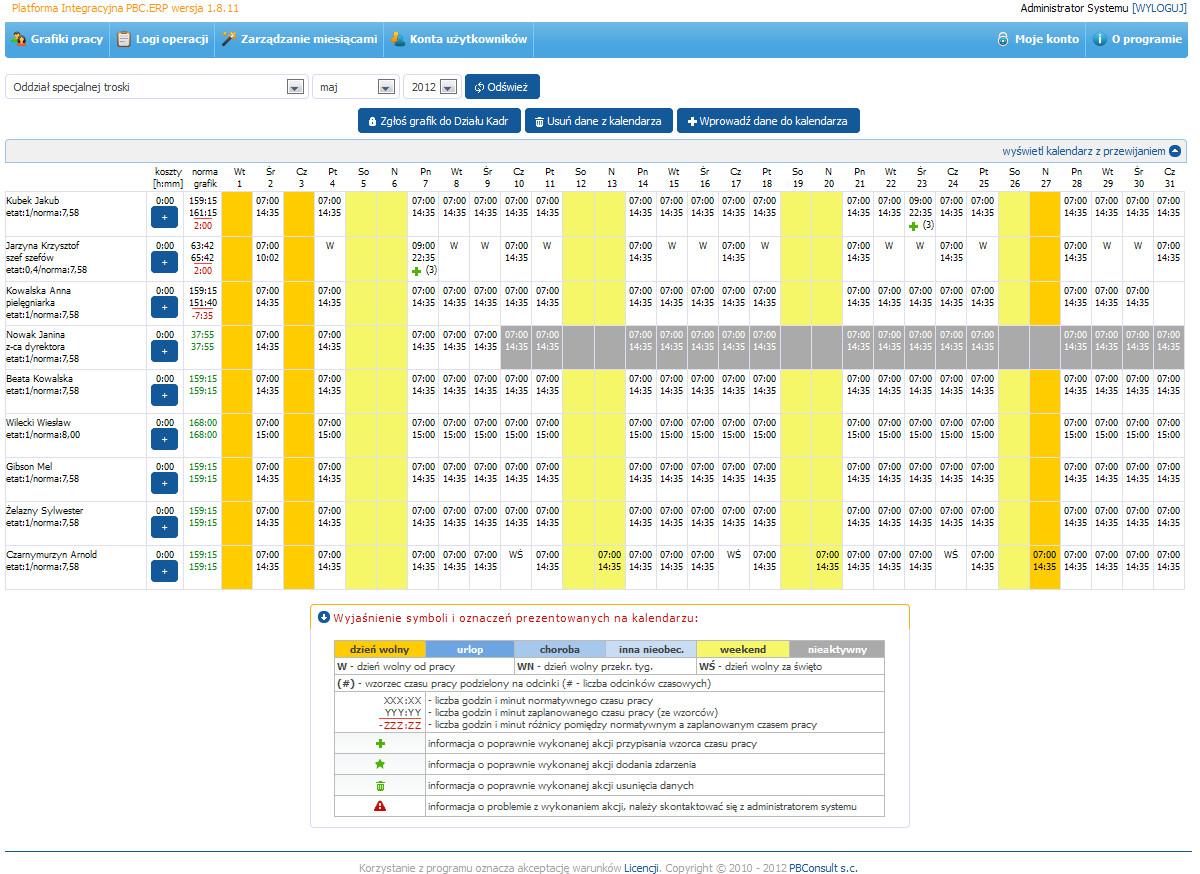 PBC.ERP System Planowania Czasu Pracy - grafik i kalendarz