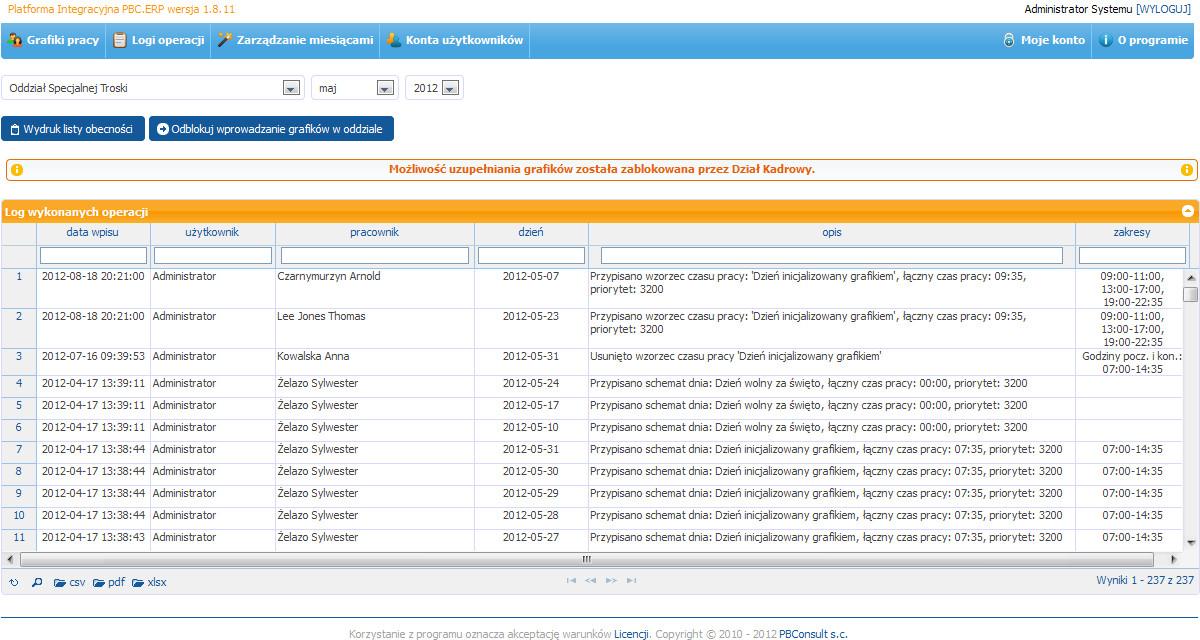 PBC.ERP System Planowania Czasu Pracy - zarządzanie miesiącami