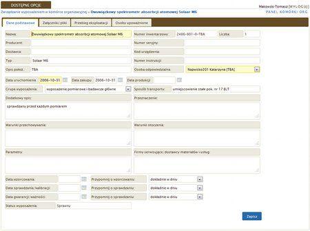 Zintegrowany System Zarządzania ERP - Zarządzanie wyposażeniem